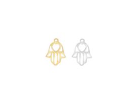 Oorbellen hanger hamsa, rvs zilver of goud plated
