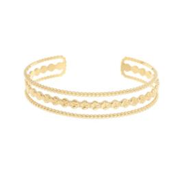 Bangle rvs triple row (zilver of goud)
