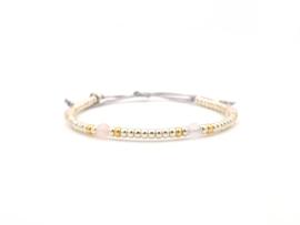 Armband Shi, miyuki en rozenkwarts in zilver of goud