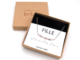 Ketting morse code dochter, daughter, fille