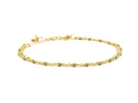 Armband rvs double groen (zilver,goud)