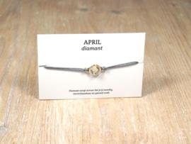 Geboortesteenarmbandje april, diamant, Swarovski