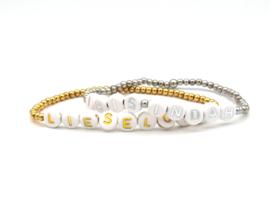 Naam, tekst armband, rvs goud of zilver