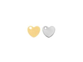 Oorbellen hanger hart, rvs zilver of goud plated