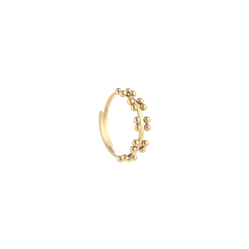 Ring double dots goud, rvs