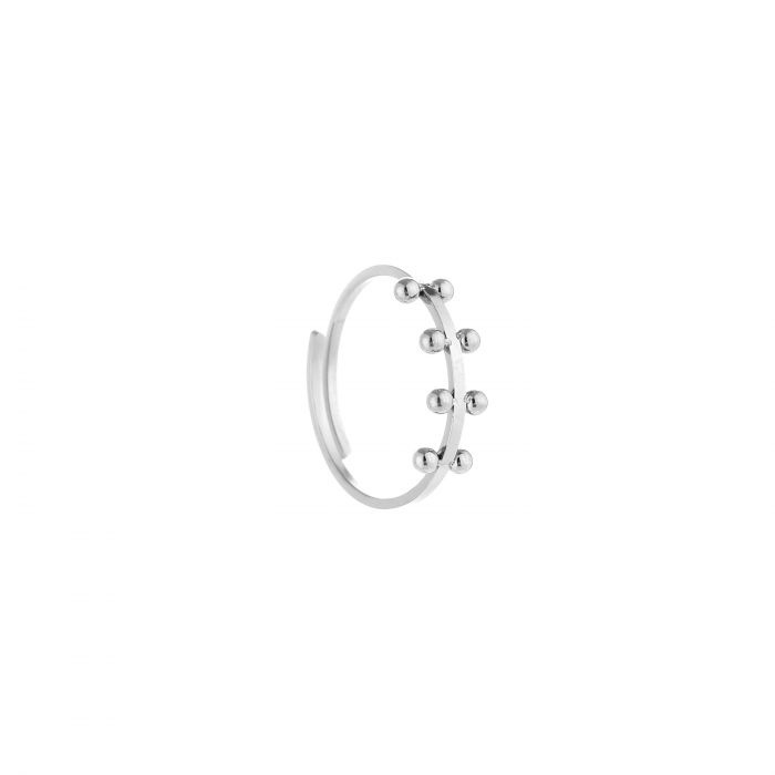 Ring 8 dots zilver, rvs
