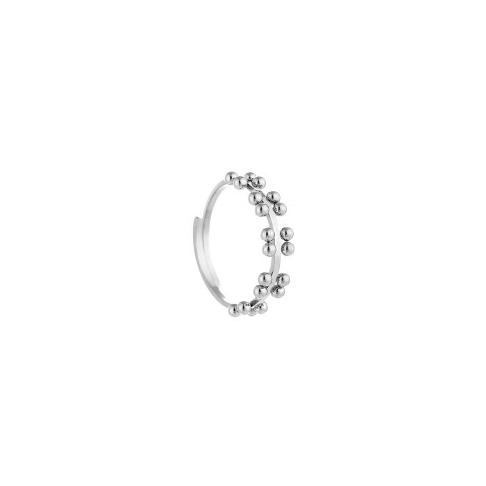 Ring double dots zilver, rvs