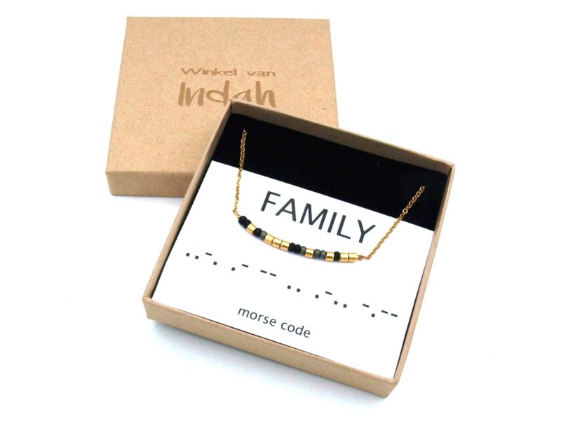 Ketting morse code familie, family