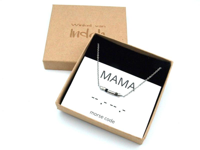 Ketting morse code Mother, Mama, Maman
