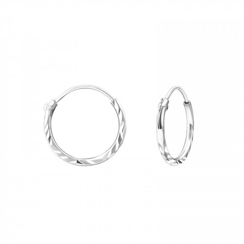 Bali hoop twisted 12 mm- 925 sterling zilver