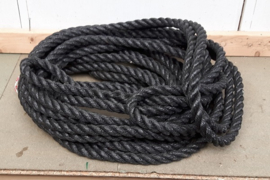 Dik touw 2,5cm, 25mtr met lus, zwart