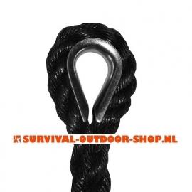Lang touw 12mm met stalen kous