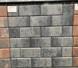 Halve Betonklinker 6 cm grijs zwart per laag