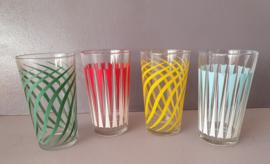 Set van vier glazen, jaren 70.