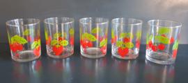 Glazen met fruitmotief. Jaren 70 (G32).