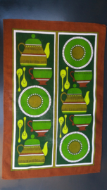 Theedoek servies groen/bruin.