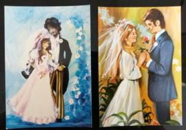 Set van twee trouwkaarten.