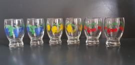 Glazen met fruitmotief. Jaren 70 (G27).