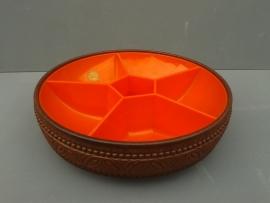 Serveerschaal, Emsa, oranje met donkerbruin.
