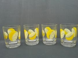 Glazen met citroenmotief. Jaren 70 (G18).