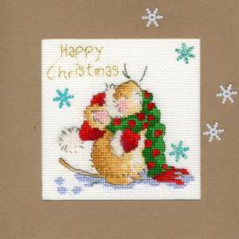 Borduurkaart - Kerstmuis