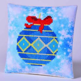 Kerstkussentje Blauwe Kerstbal
