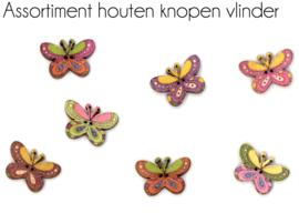 Houten Knopen Vlinder