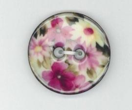 Knoop kokos, bloem rose/wit