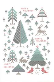 Borduurkaart - Happy Holiday Trees