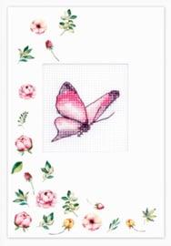 Borduurkaart - Roze Vlinder