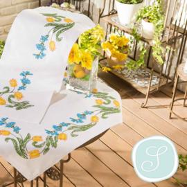 Tafelkleed of loper met gele tulpen