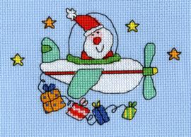 Borduurkaart - Kerstman
