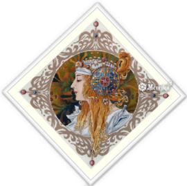Vrouwenportret van Alphonse Mucha