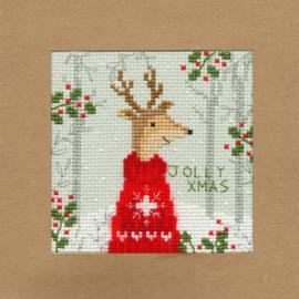 Borduurkaart - Kerst Rendier