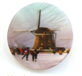 Knoop parelmoer met Oud Hollandse molen