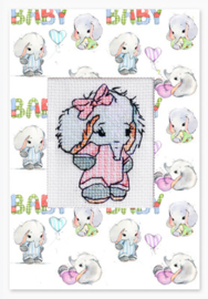 Borduurkaart - Baby Olifantje (roze of blauw)