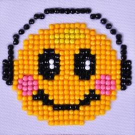 Smiley met koptelefoon
