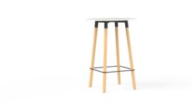 Corner tafel CRR0811 rond 80cm houten onderstel HOOG