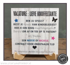 Vacature: Knuffeltante, neefje of nichtje