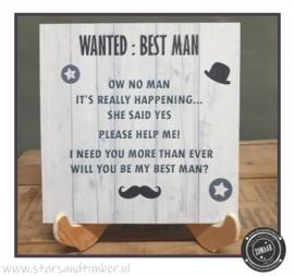 Getuigen vragen, Wanted best man 20 x 20 cm