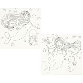 Canvas met opdruk, zeemeermin, 2stuks