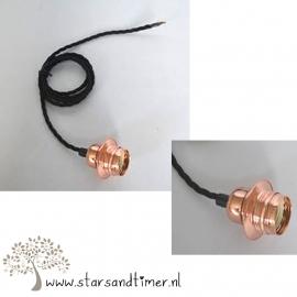 2 stuks Koper E27 fitting, 100 cm twisted kabel, lampenkaphouder