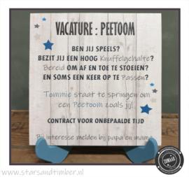 Vacature: Peetoom of Peettante, persoonlijk met naam
