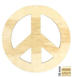 Deco wood Peace hout 28 x 28 cm