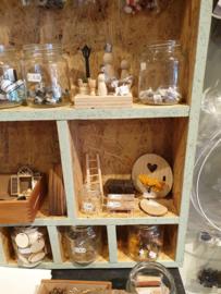 Houten boomschijfjes, 7 stuks, miniatuur
