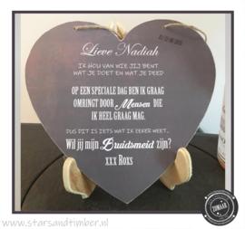 Bruiloft, hartje, vriendin vragen als bruidsmeid