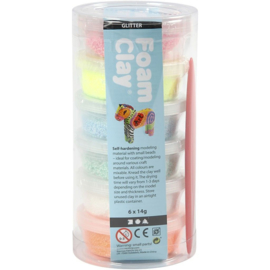 Foam Clay®, kleuren assorti, glitter, 6x14gr