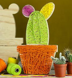 Deco wood cactus 28x 16 cm