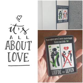 Stickers 3 stuks, Liefde = Leven