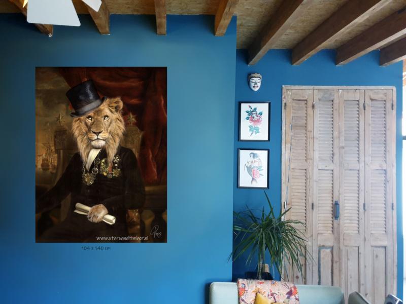 Aluminium print XL, leeuw in VOC tijd 140 x 104 cm